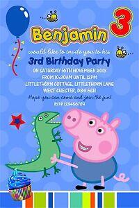 Detalles De Invitaciones De Cumpleaños Personalizadas George Pig X 5 Ver Título Original