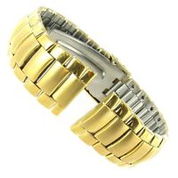 18mm Gilden Stainless Steel Gold Tone Deployment Buckle Watch Band Mens LONG