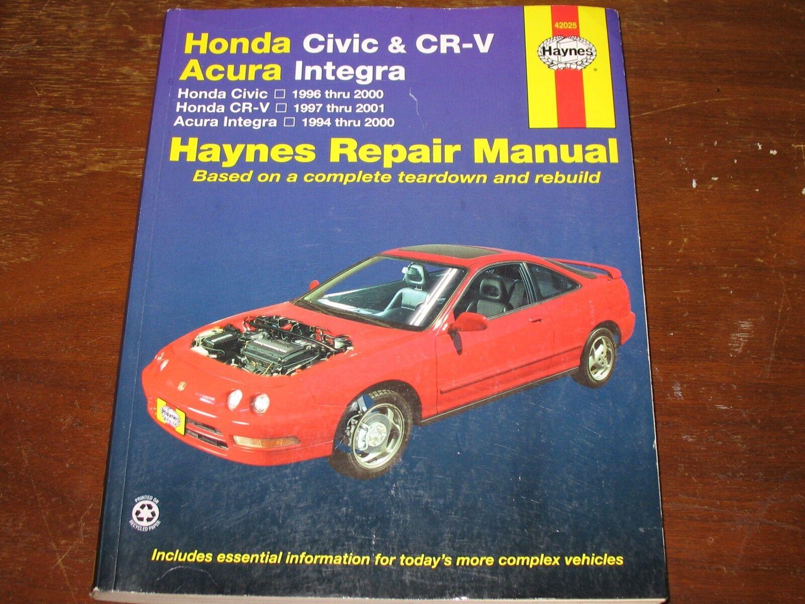 haynes repair manual for honda civic cr v acura integra 1994 2001 ebay rh ebay com Haynes Manual Pictures Back Haynes Manuals UK