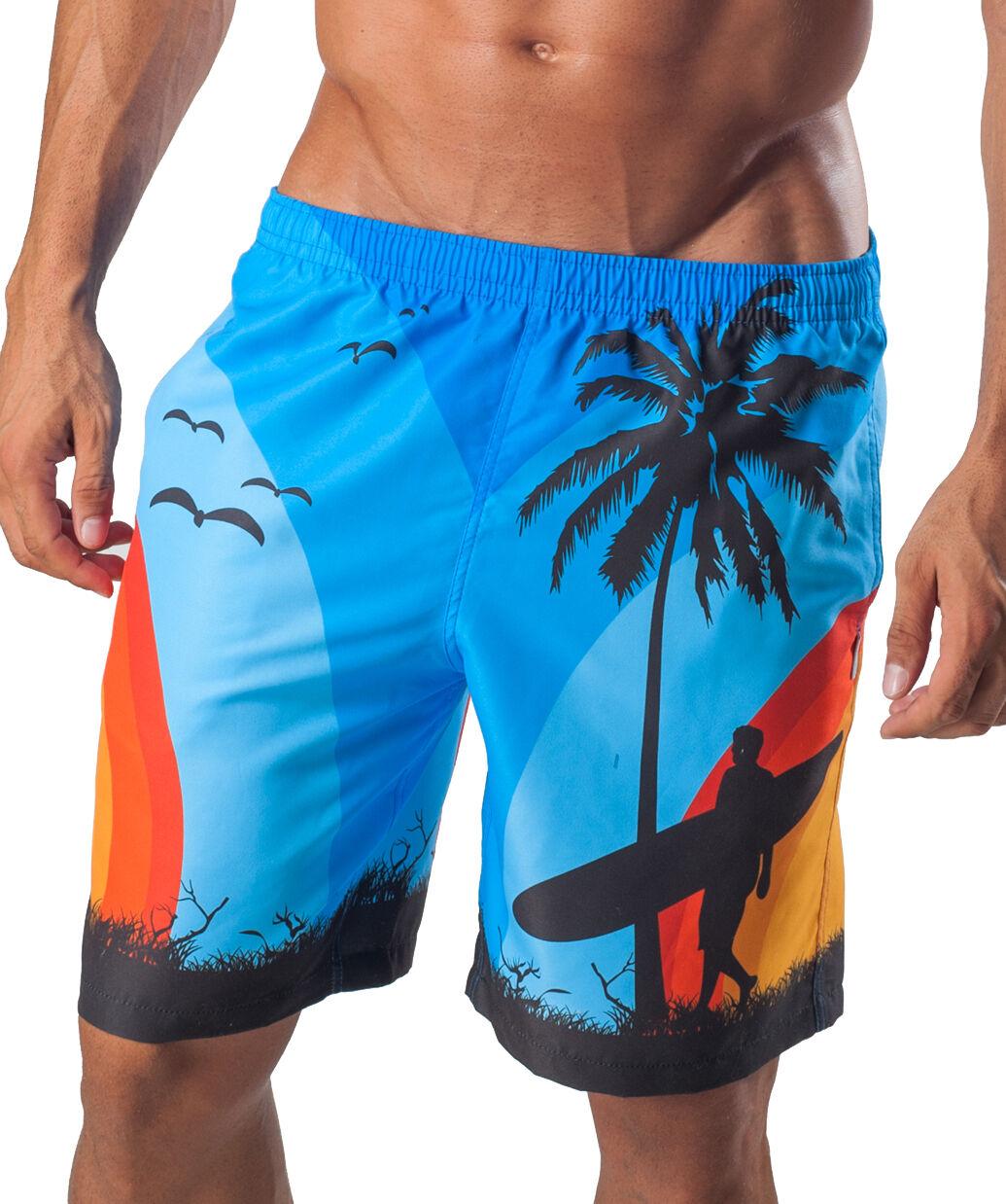 Geronimo Mens Swimming Shorts Surf Palm Tropical SwimShorts Active Sports Beach