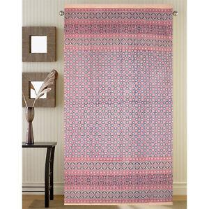 Morocaan-Foulard-Floral-Curtain-Cotton-Drape-Door-Panel-Pink-Rod-Pocket-46-x-82