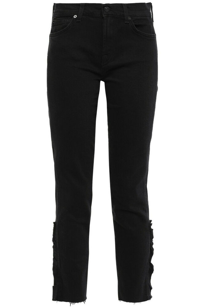 7 For All Mankind Femme Roxanne Crop Ruffle Slim Mid-rise Jeans 27/27 £ 180