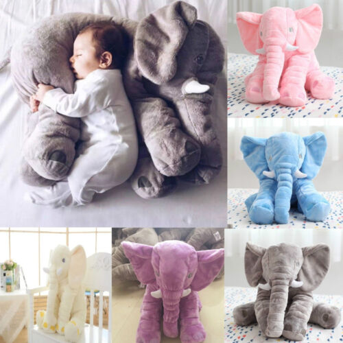 Long Nose Elephant Doll Pillow Soft Plush Stuff Toy Lumbar Pillow Baby Kids Gift