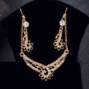 Fashion-Women-039-s-Gold-Plated-Wedding-Jewelery-Sets-Flower-Earrings-Necklace-Gift