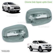 Set Chrome Wing Mirror Cover With Led For Mitsubishi Montero Pajero Sport 16 17