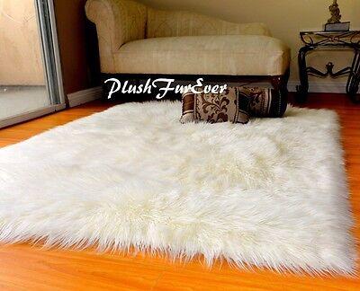 "48/"" x 58/"" Warm White Medium Sheepskin Pelts Sixto Sheep Area Rug Faux Fur Shaggy"