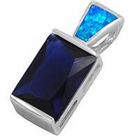 Deep Blue Sapphire & Blue Opal .925 Sterling Silver Pendant 1 on sale