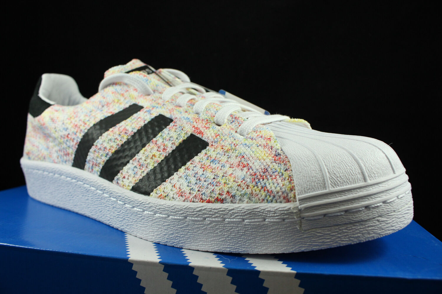 ADIDAS SUPERSTAR 80 'S PACK MULTICOLOR WHITE BLACK PK PRIME KNIT S75845 SZ 9