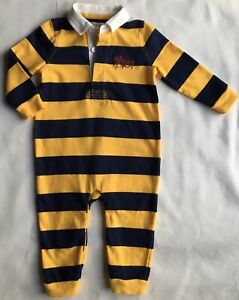Ralph Lauren Polo Outfit Size 9 Months Boys Rugby Yellow Blue Stripes One Piece Ebay
