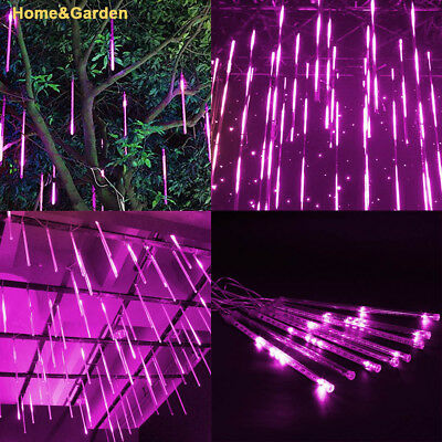 144LED Light Meteor Shower Rain 8 Tube Snowfall Tree Garden Party Xmas Day White