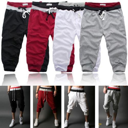 Mens 3//4 Long Length Trousers Elastic Shorts Cargo Jogging Three Quarter Pants