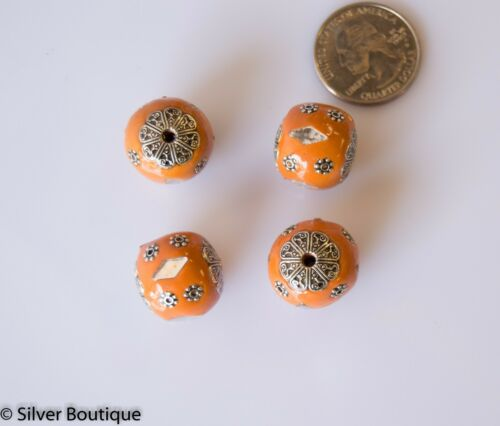 4 Orange Indonesian Beads Bali Accents Handmade 18mm Mirrors