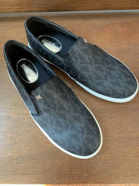 NIB MICHAEL KORS Womens Black BOERUM DOUBLE GORE MK SIGNATURE PVC Sneaker Sz 8.5