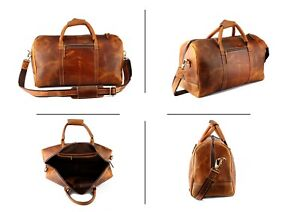 "20/"" Mens Tan Leather Duffle Bag Overnight Weekend Travel Luggage Carryon Handbag"