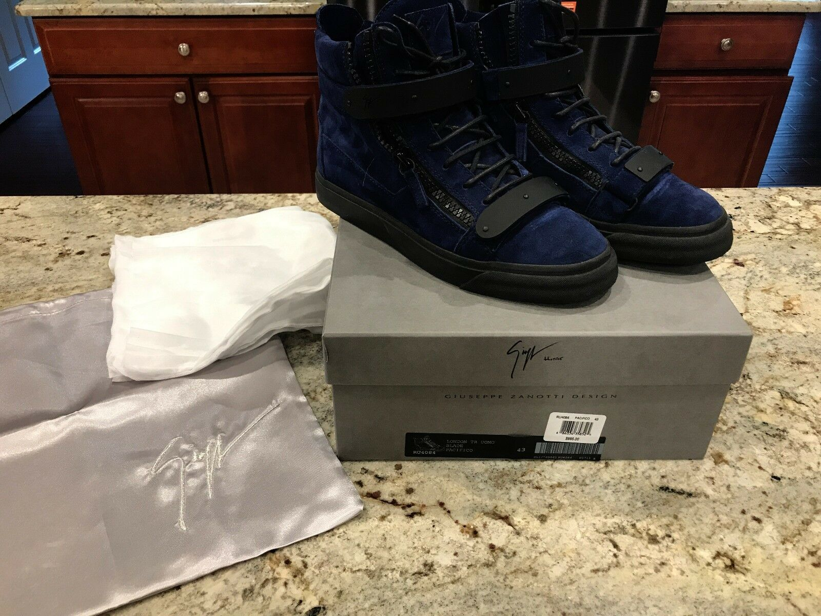 AUTHENTIC Giuseppe Zanotti - bluee Matte Double-Bar High-Top Sneakers - Saks Excl