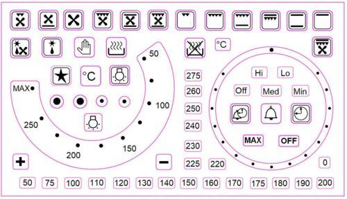Temperatura forno Ricambio Decalcomanie Adesivi Con Numeri e Simboli separati
