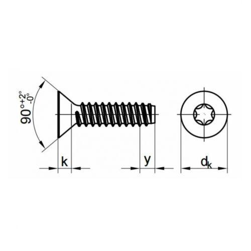 Innensechsrund F 6.3 x 90 Stahl galv 10x ISO 14586 Senkkopf-Blechschrauben ve