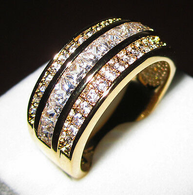 Size 8-12 Jewelry White Sapphire&CZ 10KT Yellow Gold Filled Wedding Band Ring