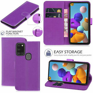 Wallet-Flip-Case-For-Samsung-Galaxy-A11-A51-A71-A21-Genuine-Leather-Cover-Purple