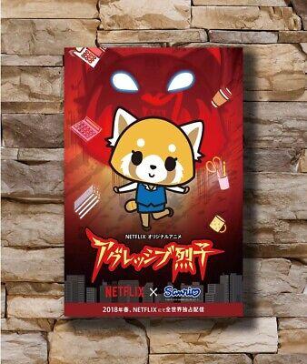 Hot Aggretsuko Japanese Anime TV Show Series Fantasy New Art Poster T-2963