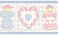 Dolls & Hearts Dollhouse Coordinate Victorian Vintage Pink Blue Wallpaper Border