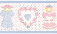Dolls & Hearts Dollhouse Coordinate Victorian Vintage Pink Blue Wallpaper Border