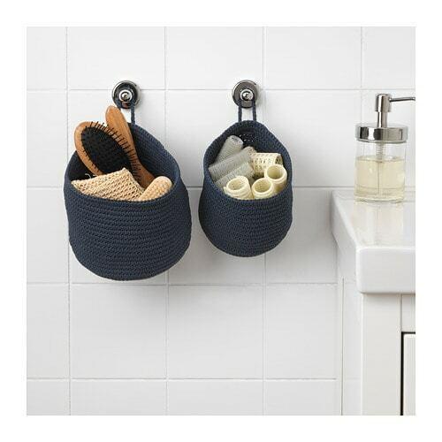 2 X Ikea Nordrana Basket Blue Handmade Grey Bathroom Storage Baskets