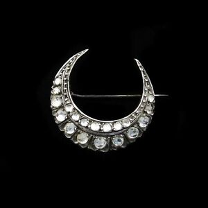 Antique-Rose-Cut-Paste-Gold-and-Silver-Crescent-Moon-Brooch-Pin-Circa-1890