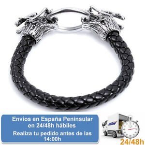 Pulsera-de-cuero-vikinga-dragon-joyeria-unisex-mujer-hombre-Envio-express