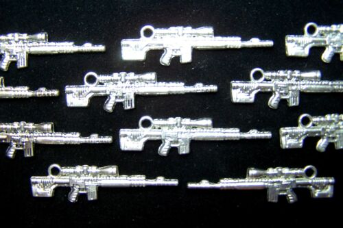 Tibetian Silver Lead Free Pewter Charms//Assault Rifle #2829 ~ 17-19Pcs.