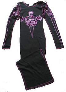 BLACK-amp-PINK-SKULL-AXE-LONG-STRAP-JERSEY-DRESS-10-12-GOTH-STEAMPUNK-CYBER