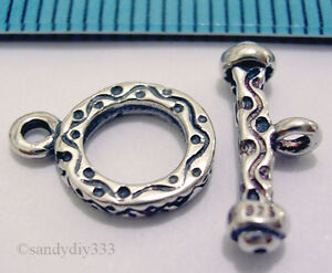 1x-ANTIQUE-STERLING-SILVER-BALI-TOGGLE-CLASP-8-6mm-N004