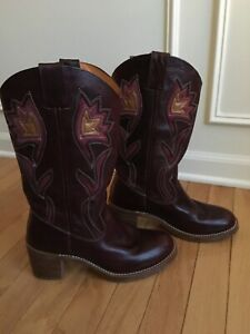 FRYE-77395-SABRINA-FLOWER-BROWN-LEATHER-PULL-ON-COWGIRL-BOOTS-AWESOME-SZ-8-B