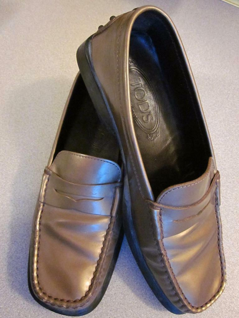 TODS Gommini COPPER Patent Leather Loafer Driver Moccasins 37.5-ITALY-RT$595