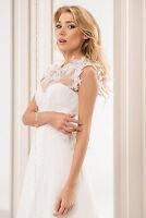 Bridal Ivory/white Lace Bolero Shrug Wedding Jacket Corset Sleeveless Size 8-14