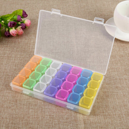 28 Slots Plastic Storage Box Diamond Painting Kits Nail Art Rhinestone Too hv2n