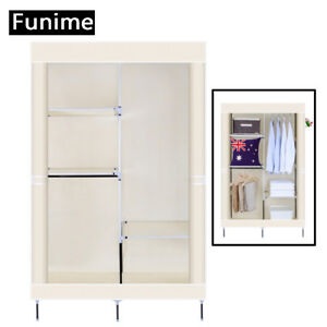 Image Is Loading Double Canvas Wardrobe With 2 Hanging Rail Bedroom