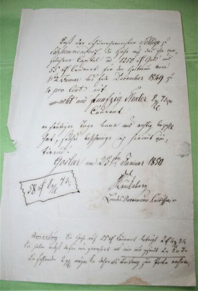 Aggressiv Antikes Schreiben / Urkunde / Brief / Manuskript Aus Dem Jahr 1850 /a