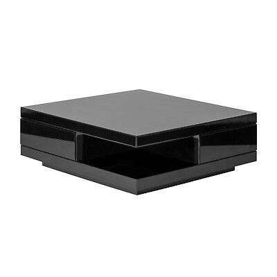 Modern Coffee Table Square Black Gloss Unit With Storage Drawers