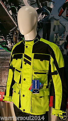 MOTORCYCLE MENS WATERPROOF QUILTED CE ARMOURS HIVIS PROTECTIVE CORDURA JACKETS