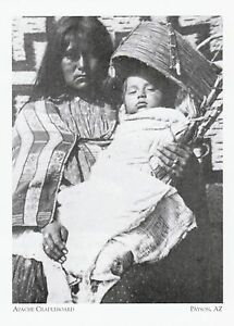 Arizona-Postcard-034-Apache-Woman-amp-Baby-In-Cradleboard-034-Payson-A325