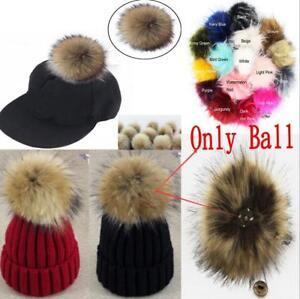 1pc Faux Fox Fur Pom Pom for Hat with Press Button Fake Fur Hat Bubble Removable