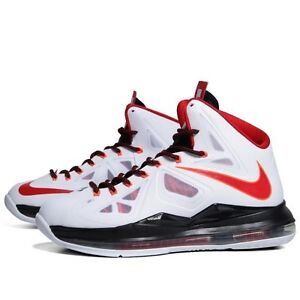 save off 16cf0 e529c Image is loading Nike-LeBron-10-X-Home-White-Red-Size-