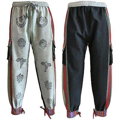 Bhutan Stile Polsino Cravatta Pantaloni Unisex Hippy Boho Blocco Stampa In Grigio E Nero-mostra Il Titolo Originale