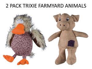2-PCK-TRIXIE-SOFT-QUALITY-PLUSH-LUXURY-SQUEAKY-DOG-PUPPY-TOYS-FARMYARD-ANIMALS