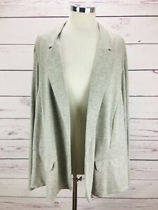J-Jill-Open-Front-Heather-Gray-Pocket-Jacket-Blazer-Linen-Women-s-Size-4X-NWT