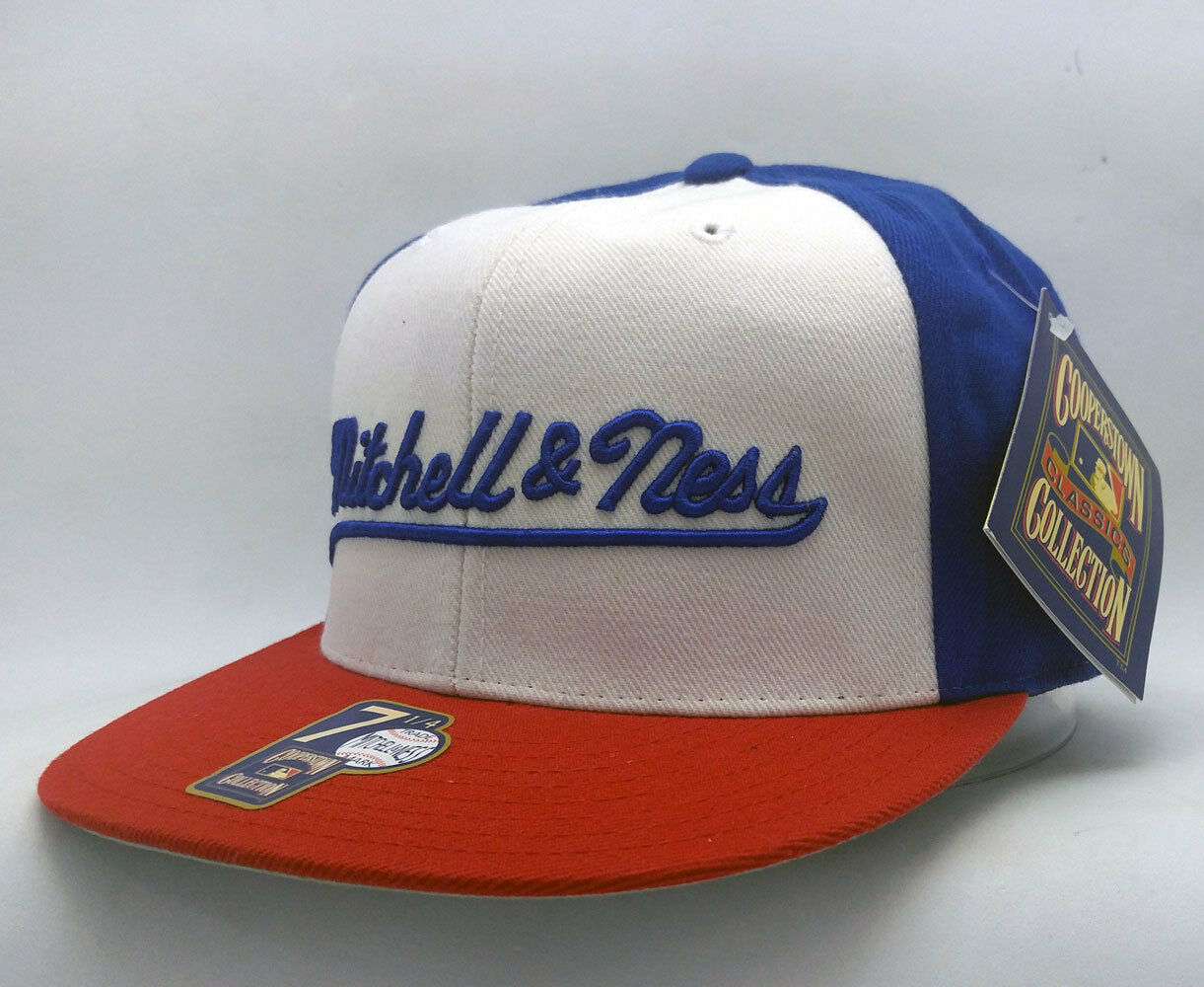 Mitchell & Ness Royal & White Size w/Red Brim Fitted Cap Size White 7 1/4 a234dc