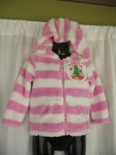 BNWT Pink//White Dorothy The Dinosaur Girls Sz 3 Fuzzy Zip Front Hoodie Jacket