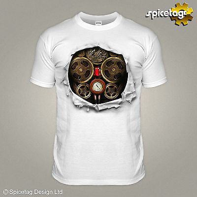 Steampunk Clockwork Robot T-shirt Halloween Costume Tee Ripped Vintage Tshirt