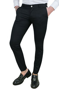 PANTALONI-UOMO-BATTISTINI-NERO-CASUAL-ELEGANTI-SLIM-FIT-ADERENTI-IN-COTONE